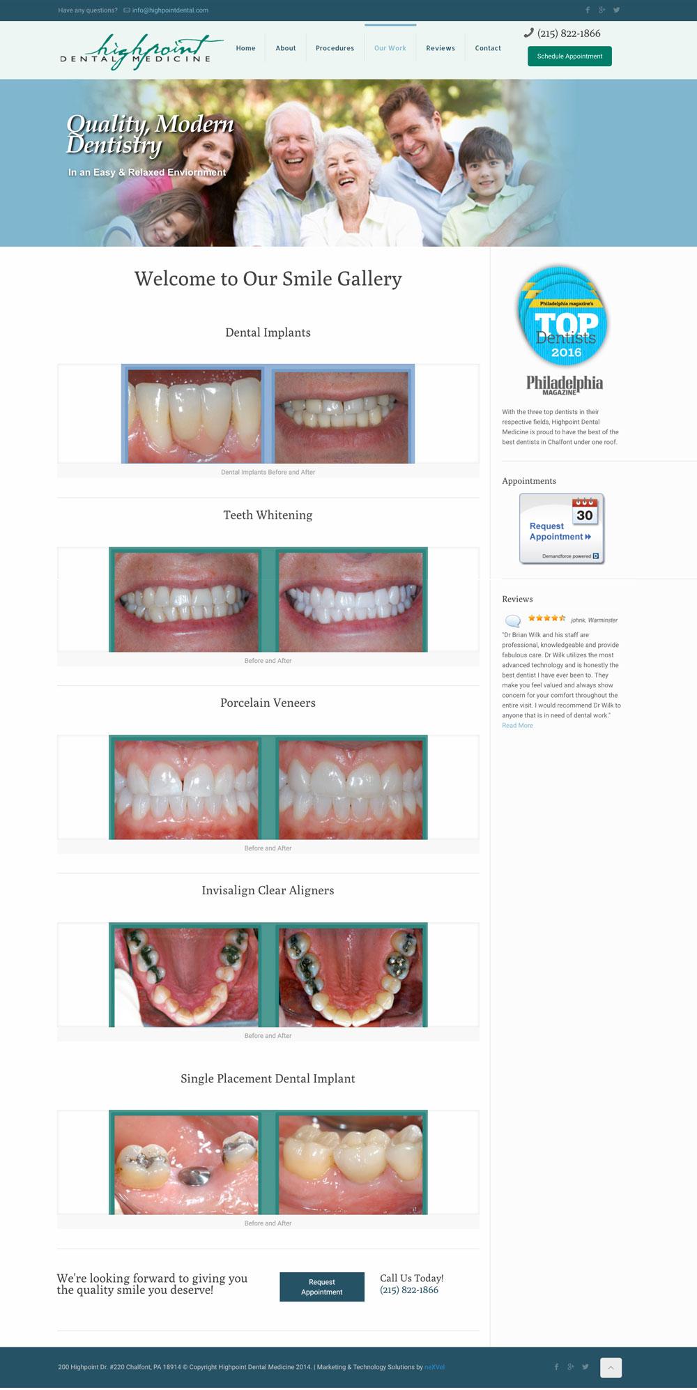 Highpoint Dental Web Design Philadelphia
